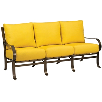 Pictured here is the Cascade Outdoor Sofa with upholstered all-weather seat cushions from Woodard.
