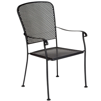 Pictured is the Fullerton Dining Stackable Arm Chair from Woodard Outdoor Furniture, sold by Timeless Wrought Iron.