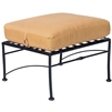 Pictured is the Sheffield Ottoman from Woodard Outdoor Furniture, sold by Timeless Wrought Iron.