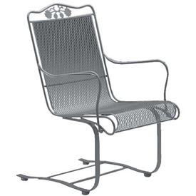 Pictured is the Briarwood High Back Spring Coiled Chair from Woodard Outdoor Furniture, sold by Timeless Wrought Iron.