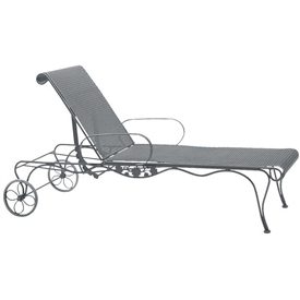 Pictured is the Briarwood Adjustable Chaise Lounge from Woodard Outdoor Furniture, sold by Timeless Wrought Iron.