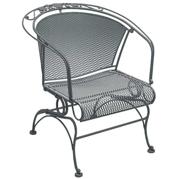 Pictured is the Briarwood Coil Spring Barrel Chair from Woodard Outdoor Furniture, sold by Timeless Wrought Iron.