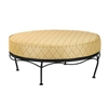 Pictured is the Cantebury Universal Oval Ottoman from Woodard Outdoor Furniture, sold by Timeless Wrought Iron.