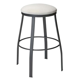 Pictured is the Backless Outdoor Tight Seat Bar Stool from Woodard Outdoor Furniture Furniture, sold by Timeless Wrought Iron.