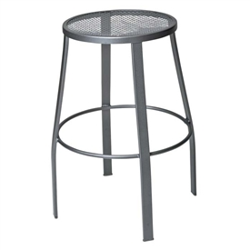 Pictured is the Backless Outdoor Mesh Bar Stool from Woodard Outdoor Furniture, sold by Timeless Wrought Iron.