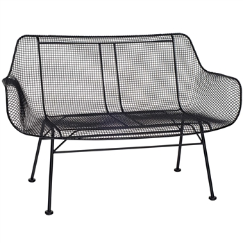 Pictured here is the Sculptura Outdoor Bench with comfortable contoured wire mesh seat from Woodard.