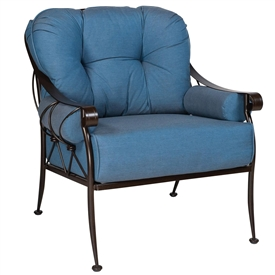 Pictured is the Derby Lounge Chair from Woodard Outdoor Furniture, sold by Timeless Wrought Iron.