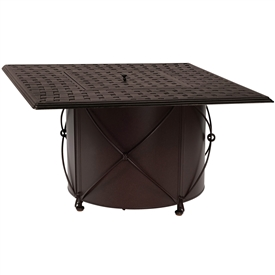Pictured is the Universal Square Fire Pit with Square Burner from Woodard Outdoor Furniture, sold by Timeless Wrought Iron.