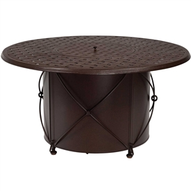 Pictured is the Universal Fire pit with Round Burner from Woodard Outdoor Furniture, sold by Timeless Wrought Iron.