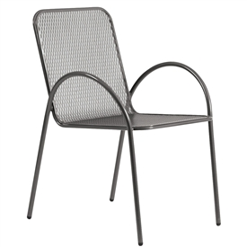 Pictured is the Avalon Bistro Stackable Arm Chair from Woodard Outdoor Furniture, sold by Timeless Wrought Iron.