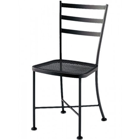 Pictured is the Cafe Classics Marsala Side Chair from Woodard Outdoor Furniture, sold by Timeless Wrought Iron.