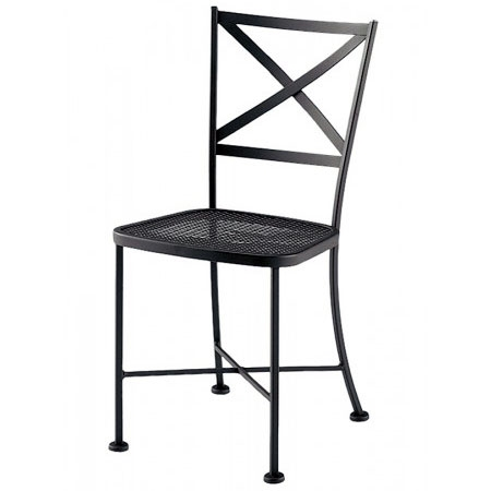 Pictured is the Cafe Classics Genoa Side Chair from Woodard Outdoor Furniture, sold by Timeless Wrought Iron.