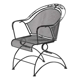 Pictured is the Windflower Mesh Coil Spring Barrel Chair from Woodard Outdoor Furniture, sold by Timeless Wrought Iron.