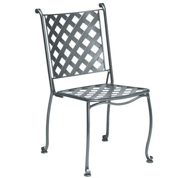 Pictured is the Maddox Bistro Stackable Side Chair from Woodard Outdoor Furniture, sold by Timeless Wrought Iron.
