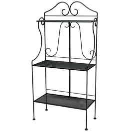 Pictured is the Mesh Deluxe Baker's Rack from Woodard Outdoor Furniture, sold by Timeless Wrought Iron.