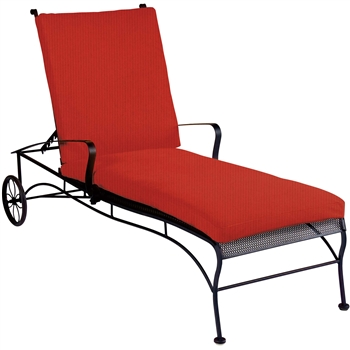 Pictured is the Bradford Mesh Adjustable Chaise Lounge from Woodard Outdoor Furniture, sold by Timeless Wrought Iron.