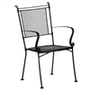 Pictured is the Bradford Dining Stackable Arm Chair from Woodard Outdoor Furniture, sold by Timeless Wrought Iron.