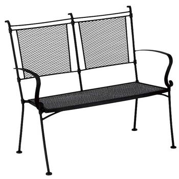 Pictured is the Bradford Stackable Bench from Woodard Outdoor Furniture, sold by Timeless Wrought Iron.