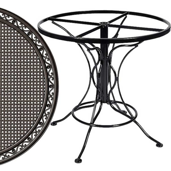 Pictured is the Universal Round Dining Table with Empire Top from Woodard Outdoor Furniture, sold by Timeless Wrought Iron.