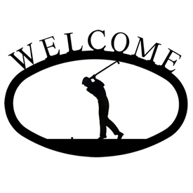 Wrought Iron Golfer Welcome Sign
