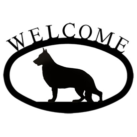 Wrought Iron Welcome Sign Small - German