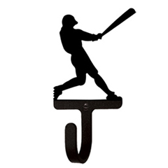 Wrought Iron Baseball Player Wall Hook Small