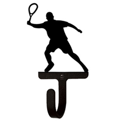 Wrought Iron Tennis Player Wall Hook Small