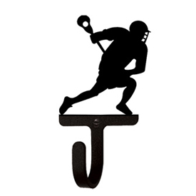 Wrought Iron Lacrosse Player Wall Hook Small