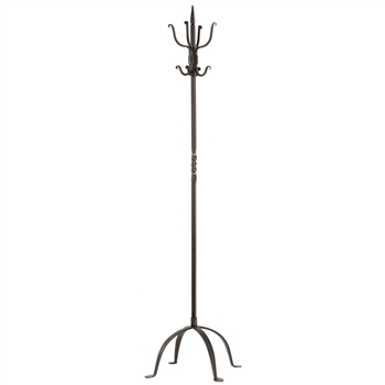 Hand-crafted Standard Standing Coat Rack in natural black finish is made by Stone County Ironworks and sold at www.TimelessWroughtIron.com