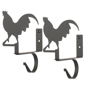 Wrought Iron Rooster Curtain Shelf Brackets