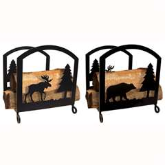 Wrought Iron Moose & Bear Wood Rack