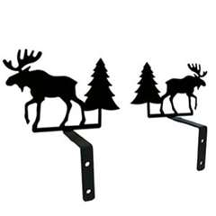 Wrought Iron Moose & Pine Curtain Swags