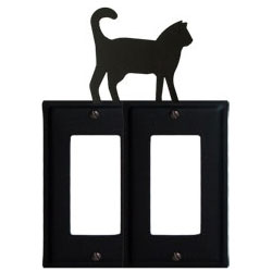 Wrought Iron Cat Double GFI Cover