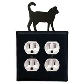 Wrought Iron Cat Outlet Cover (Double)