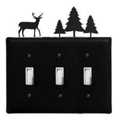 Wrought Iron Deer & Pine Triple Switch Cover