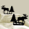 Wrought Iron Moose and Pine Tie Backs