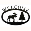 Wrought Iron Moose & Pine Tree Welcome Sign