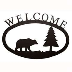 Wrought Iron Bear & Pine Tree Welcome Sign