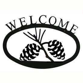 Wrought Iron Pine Cone Welcome Sign
