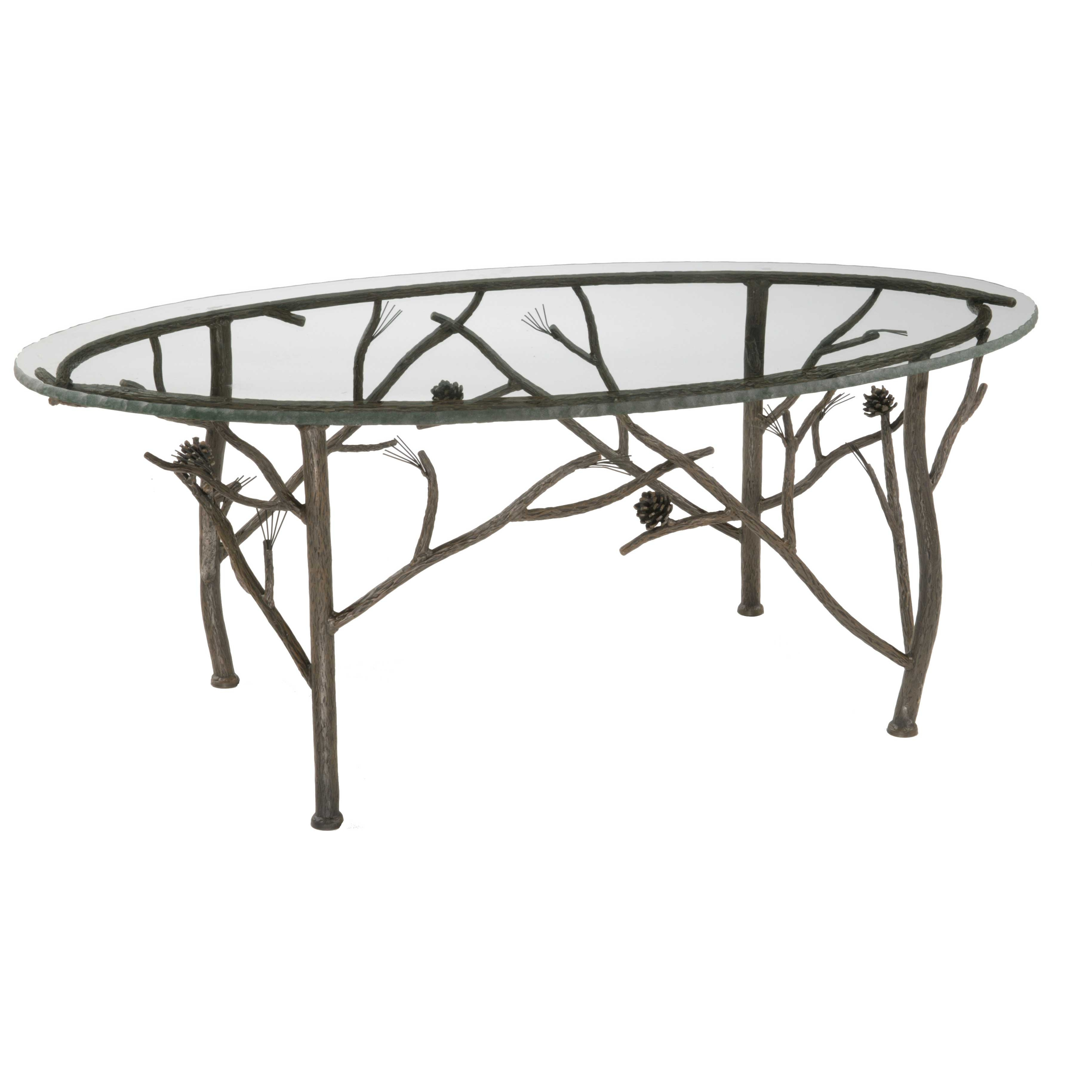Wrought iron rustic pine oval coffee table by stone county for Oval copper coffee table