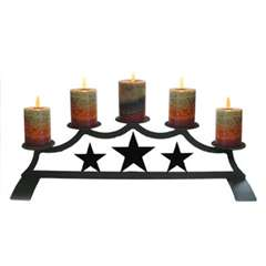 Wrought Iron Star Pillar Candle Holder