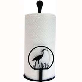 Wrought Iron Heron Paper Towel Stand