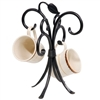 Pictured here is the Sassafras Wrought Iron Mug Rack that holds 4 standard coffee mugs on our counter top.