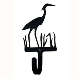 Wrought Iron Blue Heron Small Wall Hook