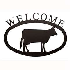 Wrought Iron Cow Welcome Sign