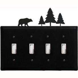 Wrought Iron Bear/Pine Quad Switch Cover