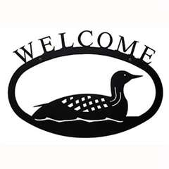 Wrought Iron Loon Welcome Sign