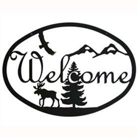 Wrought Iron Moose & Eagle Welcome Sign