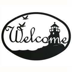 Wrought Iron Lighthouse Scene Welcome Sign