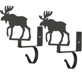 Wrought Iron Moose Curtain Shelf Brackets